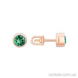 Золотые пусеты с зеленым кварцем (арт. 2190706101кв)