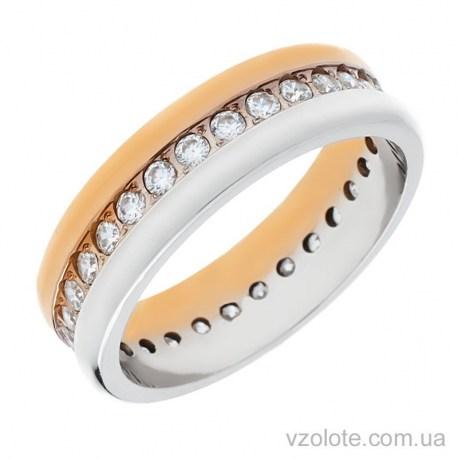 Золотое обручальное кольцо комбинированное с фианитами (арт. 1076)