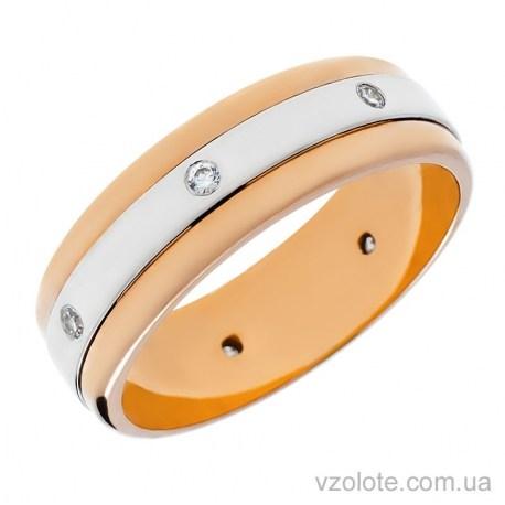Золотое обручальное кольцо комбинированное с фианитами (арт. 1088)