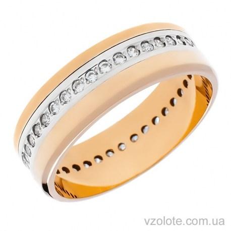 Золотое обручальное кольцо комбинированное с фианитами (арт. 1090)