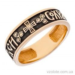 Золотое обручальное кольцо с чернением «Спаси и Сохрани» (арт. 1611-10)