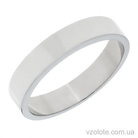 Обручальное кольцо из белого золота классическое Американка (арт. 10104б)