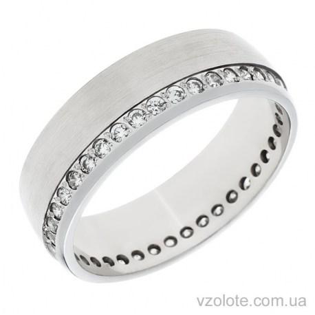 Обручальное матовое кольцо из белого золота с фианитами Европейка (арт. 10133б)