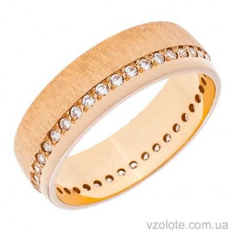 Золотое обручальное матовое кольцо с фианитами Европейка (арт. 10134)