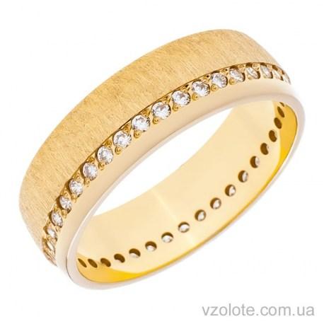 Обручальное матовое кольцо из лимонного золота с фианитами Европейка (арт. 10134л)
