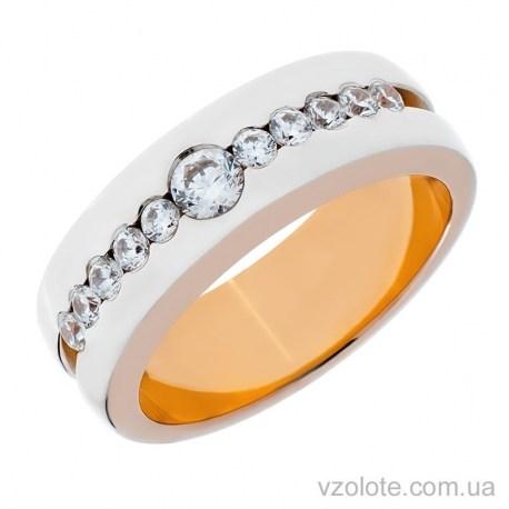 Золотое обручальное кольцо комбинированное с фианитами (арт. 10147-1)