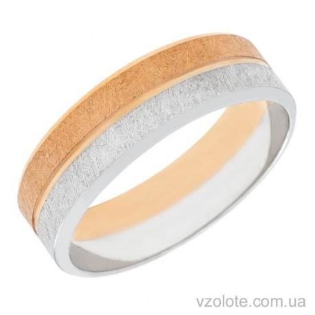 Золотое обручальное матовое кольцо комбинированное (арт. 10159)