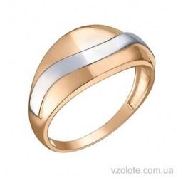 Золотое комбинированное кольцо Волна (арт. 1091462101)