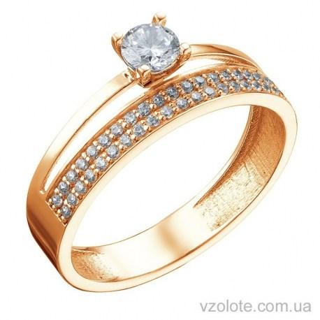 Золотое помолвочное кольцо с фианитами (арт. 1105267101)