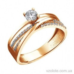 Золотое кольцо с фианитами Восторг (арт. 1105268101)