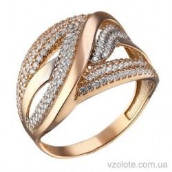 Золотое комбинированное кольцо с фианитами Надежда (арт. 1105375112)