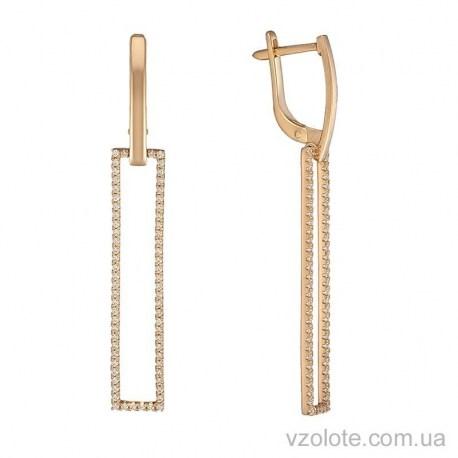 Золотые серьги с подвесками Прямоугольник (арт. 2104166101)