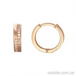 Золотые серьги колечки с фианитами (арт. 2105610101)