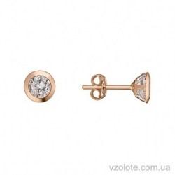 Золотые серьги пусеты с фианитами Стиль (арт. 2105620101)