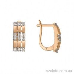 Золотые серьги с фианитами Алсу (арт. 2191449101)