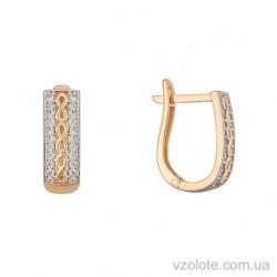 Золотые серьги с фианитами Плетение (арт. 2191454101)