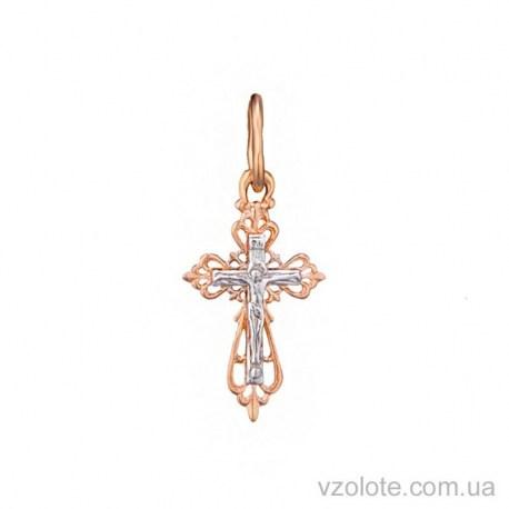 Золотой комбинированный крестик (арт. 3005417112)