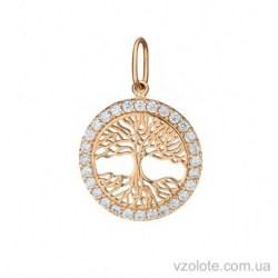 Золотой кулон с фианитами Дерево жизни (арт. 3105443101)