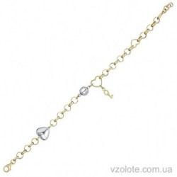 Золотой браслет из лимонного золота с подвесками (арт. 4204816132)