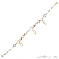 Золотой комбинированный браслет с подвесками Прелесть (арт. 4213943112)