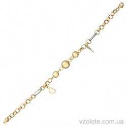Золотой комбинированный браслет Ключ от сердца (арт. 4214117132)