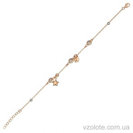 Золотой якорный браслет с фианитами (арт. 4214627112)
