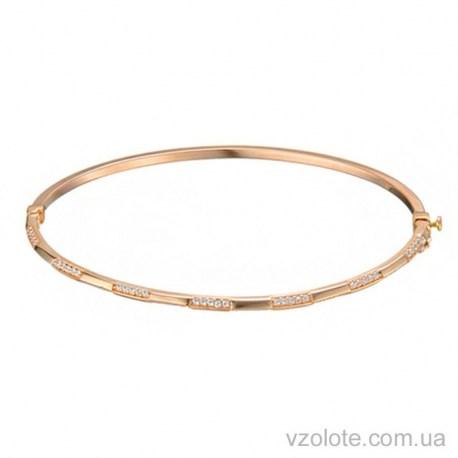 Золотой жесткий браслет со вставками из фианитов (арт. 4215412101)