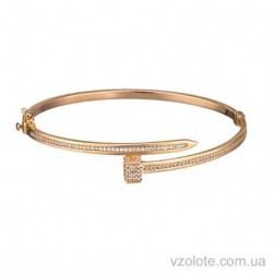 Золотой жесткий браслет с фианитами Картье (арт. 4215414101)