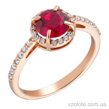 Золотое кольцо с рубином и фианитами (арт. 1191059101)