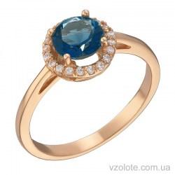 Золотое кольцо с темно-голубым топазом (арт. 1191066101тг)