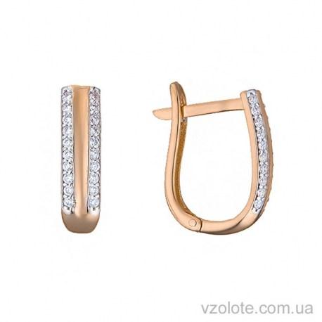 Золотые серьги с фианитами (арт. 2191453101)
