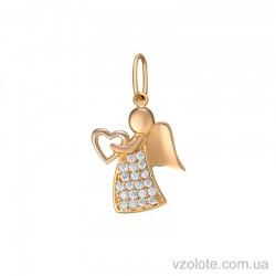 Золотой кулон с фианитами Ангел (арт. 3105441101)