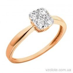 Золотое помолвочное кольцо с фианитами (арт. 140536)