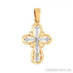 Золотой крест с фианитами (арт. 501645ж)