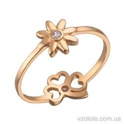 Золотое кольцо с фианитом Ромашка (арт. 1106350101)