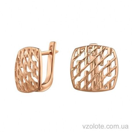 Золотые серьги с алмазной гранью Мальва (арт. 2091517101)