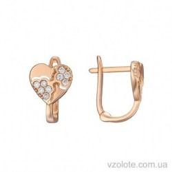 Золотые детские серьги с фианитами Сердечки (арт. 2104909101)