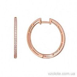 Золотые серьги-кольца с фианитами Сьюзи (арт. 2105795101)