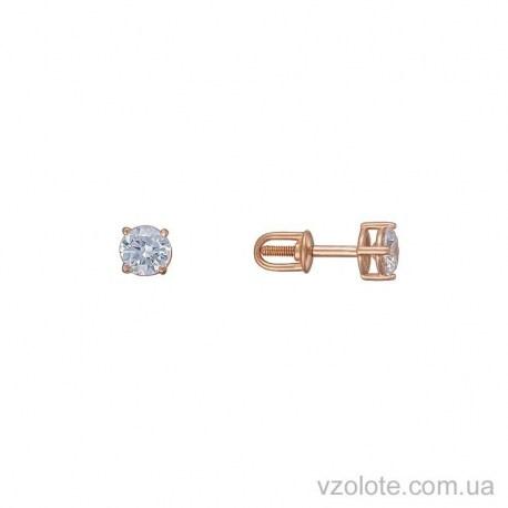 Золотые серьги-пусеты с фианитом Аюта (арт. 2105888101)