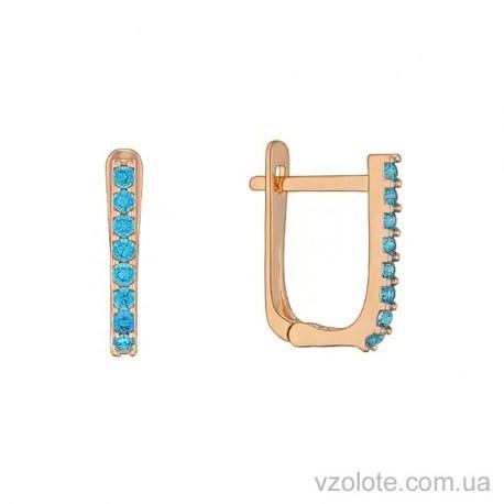 Золотые детские серьги с голубыми фианитами Ирис (арт. 2106064101)