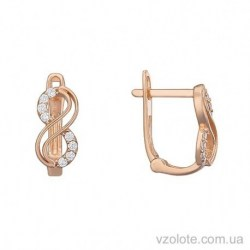 Золотые серьги с фианитами Сандра (арт. 2106066101)