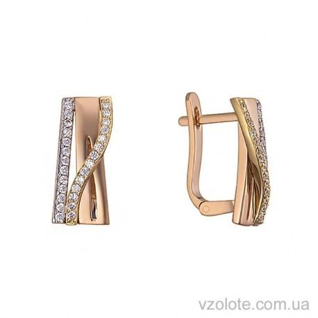 Золотые комбинированные серьги с фианитами Аманта (арт. 2191536113)