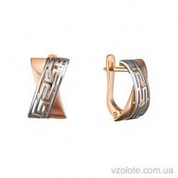 Золотые комбинированные серьги Калипсо (арт. 2091515112)