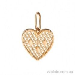 Золотой кулон с алмазной гранью Сердце (арт. 3005419101)