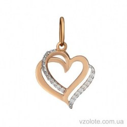 Золотой кулон с фианитами Сердце (арт. 3104070101)
