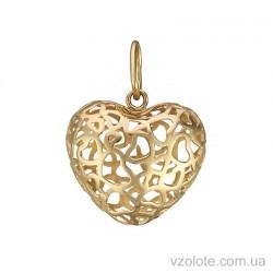 Подвес из желтого золота Объемное сердце (арт. 3004922103)