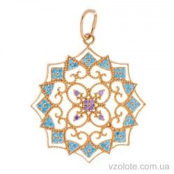 Золотой кулон с цветными фианитами Сияние (арт. 3105924101)