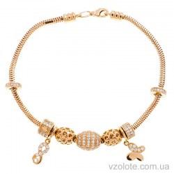 Золотой браслет снейк с подвесками (арт. 4215779101)