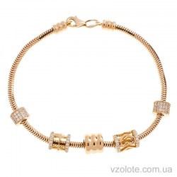 Золотой браслет снейк с подвесками Шарм (арт. 4215780101)