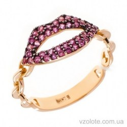Золотое кольцо с фианитами Поцелуй (арт. 1106384101)
